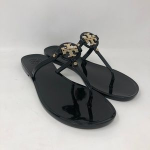 Tory Burch Mini Miller Jelly Thong Sandals 8 Black